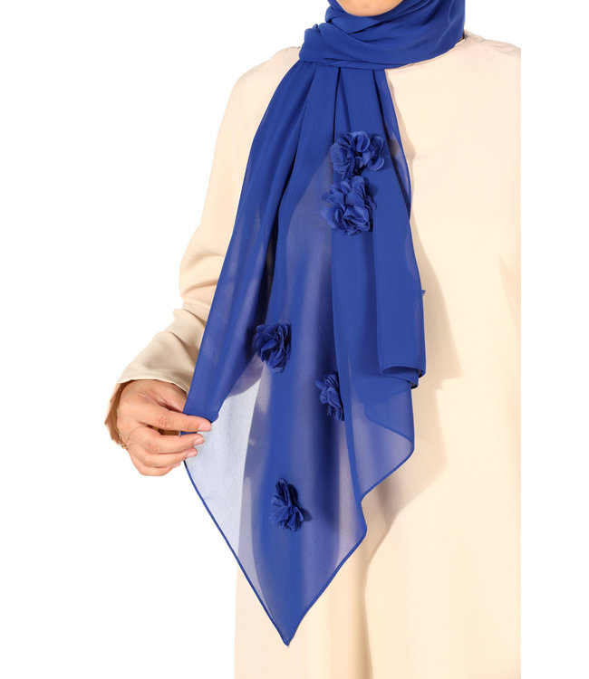 Chiffon scarf with roses - Blue
