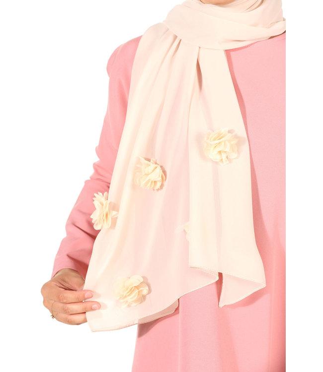 Chiffon sjaal met roosjes - Lichtroze