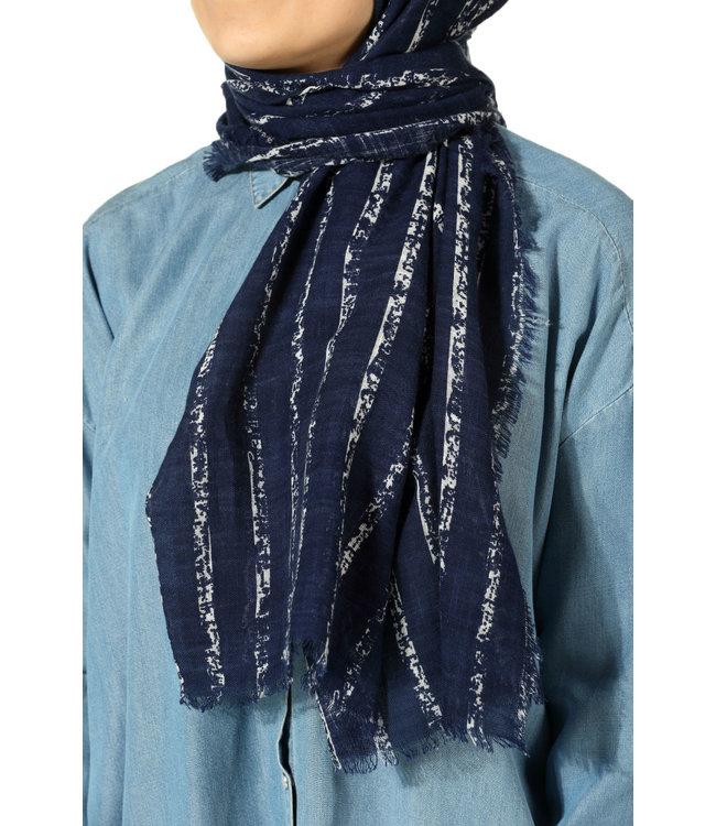 Katoenen sjaal - Donkerblauw/Créam