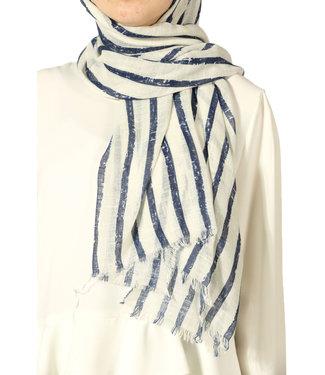 Akel Katoenen sjaal - Créam/Donkerblauw