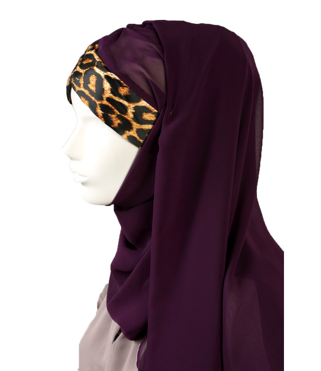 Leopard pattern chiffon scarf - purple