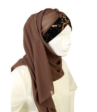 Leopard Pattern chiffon scarf - Brown