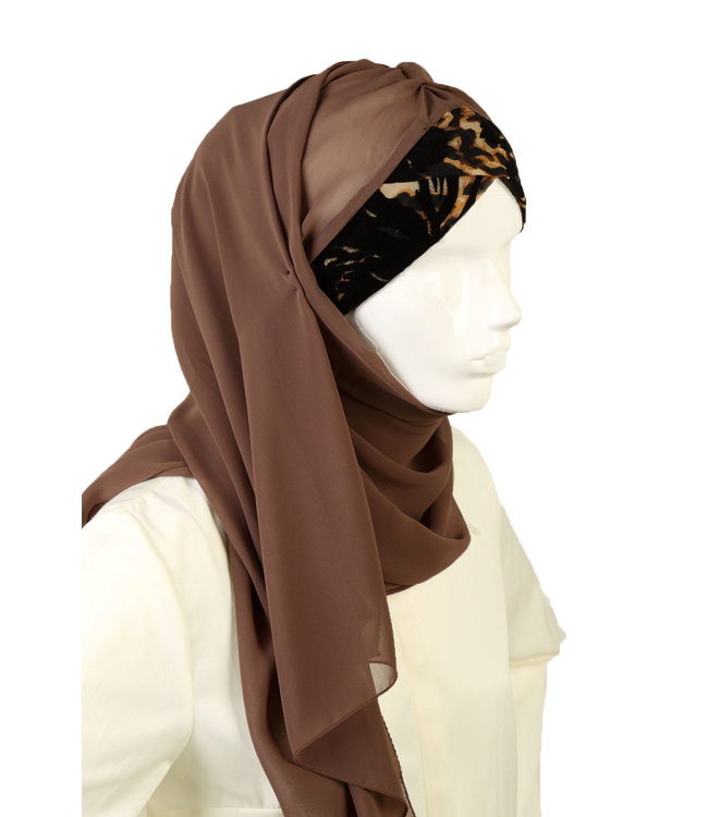 Leopard Pattern chiffon scarf - Brown