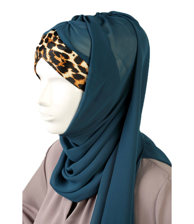 Leopard Pattern chiffon scarf - Blue