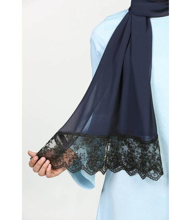 Kanten Chiffon Sjaal - Donkerblauw