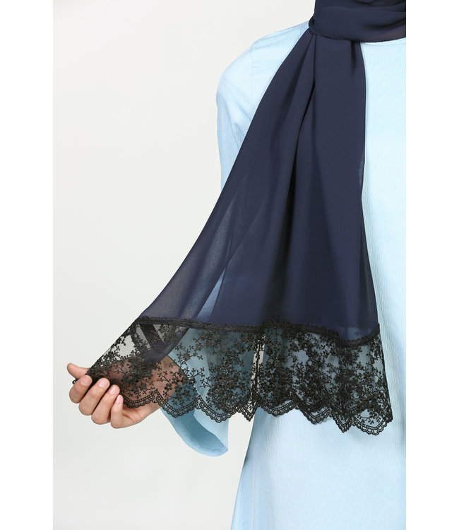 Lace Chiffon Scarf - Dark Blue