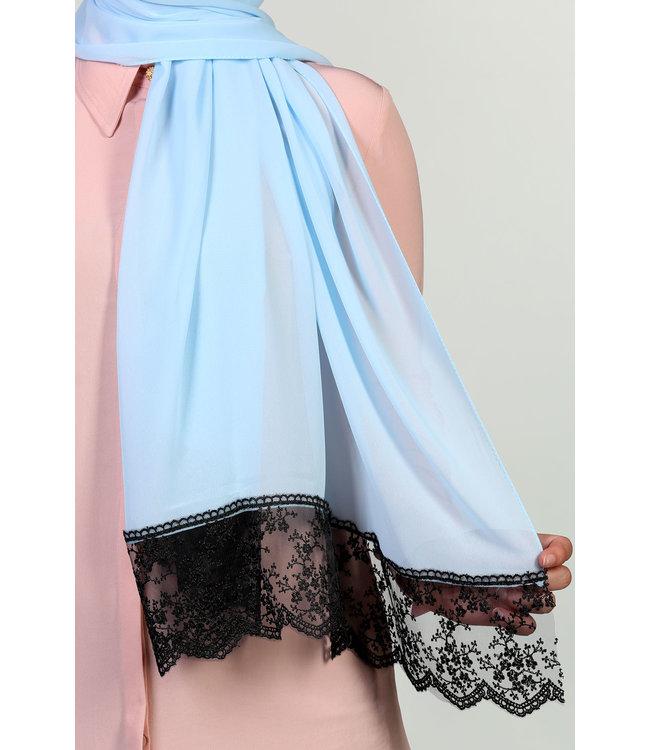 Kanten Chiffon Sjaal - Baby blauw