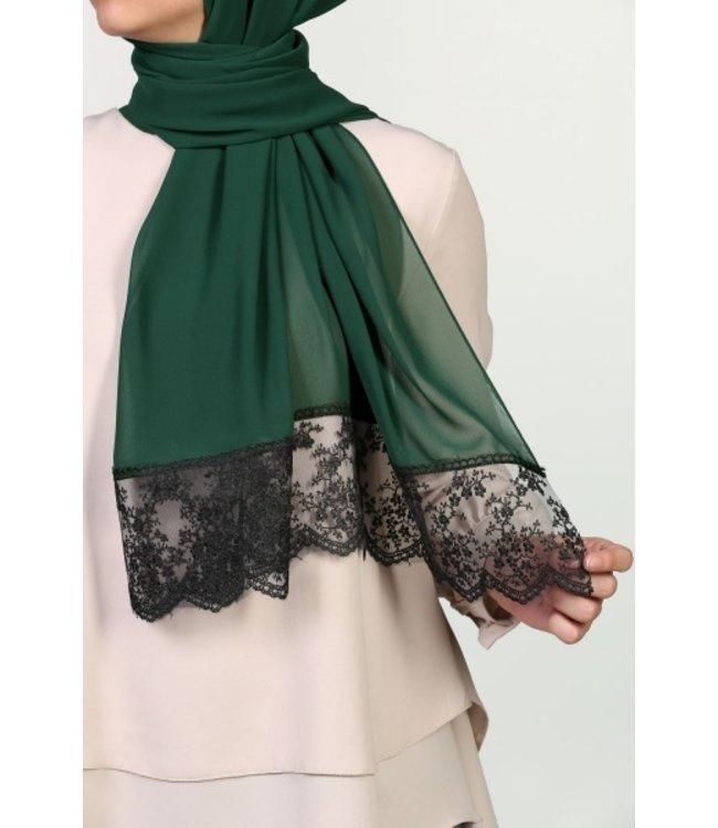 Lace Chiffon Scarf - Emerald