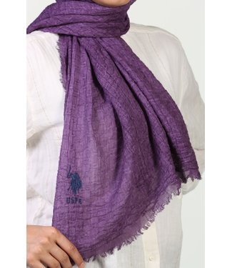 Wrinkled cotton scarf - Purple