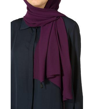 Chiffon sjaal met kwastjes - Paars