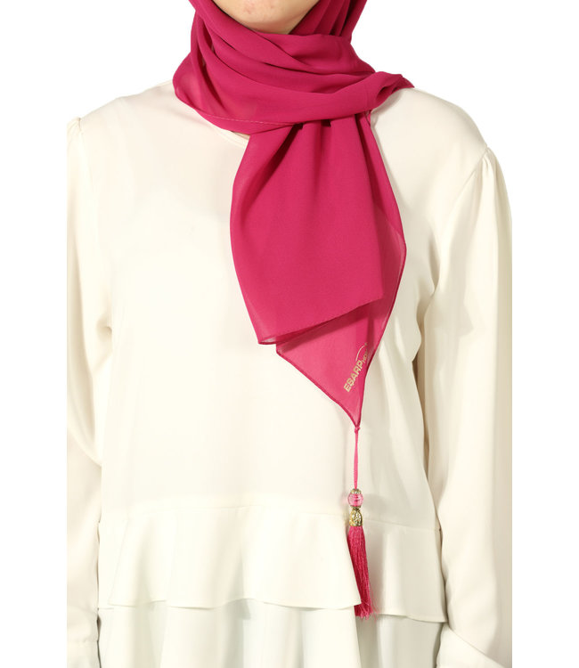 Esarp Home Chiffon sjaal met kwastjes - Roze