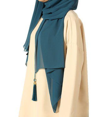 Chiffon sjaal met kwastjes - Petrol