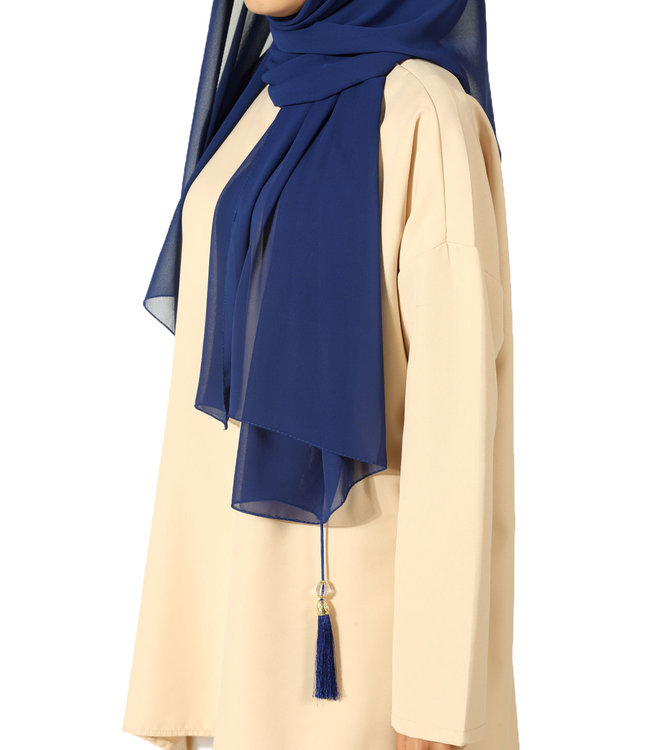 Chiffon sjaal met kwastjes - Blauw