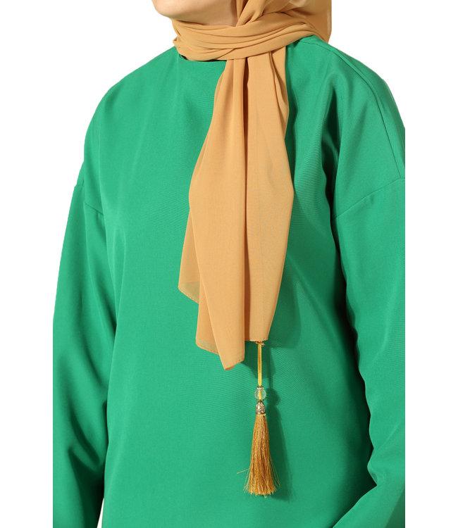 Chiffon sjaal met kwastjes - Saffraan