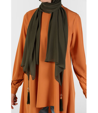 Chiffon sjaal met kwastjes - Khaki