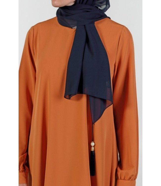 Chiffon sjaal met kwastjes - Donkerblauw