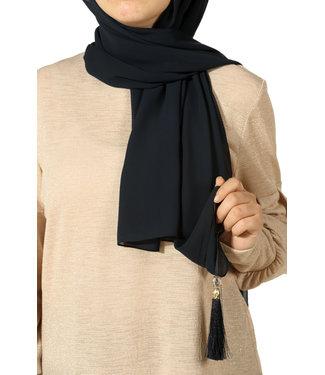 Esarp Chiffon scarf with tassels - Black