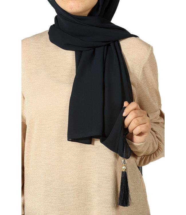 Esarp Home Chiffon sjaal met kwastjes - Zwart