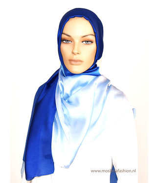 Sófani Zijde sjaal - Lichtblauw / blauw