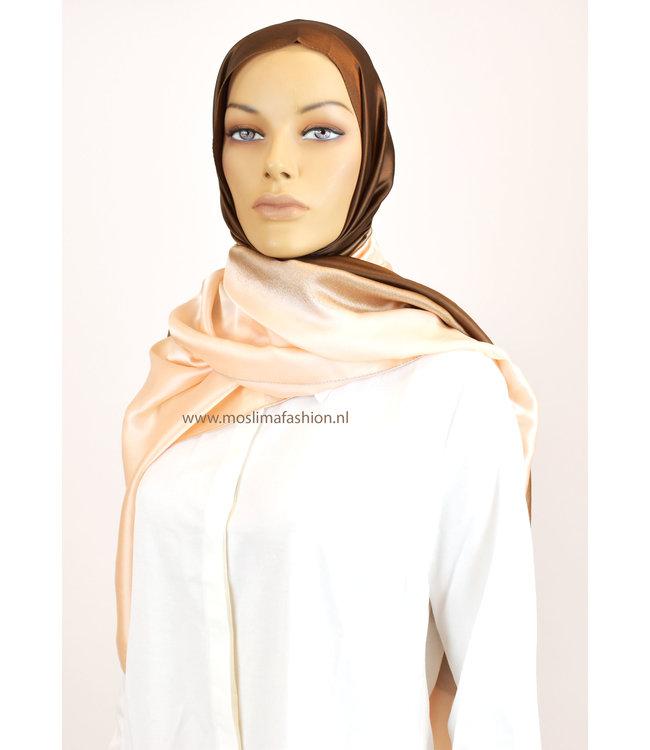 Sófani Silk scarf - Coral / Brown