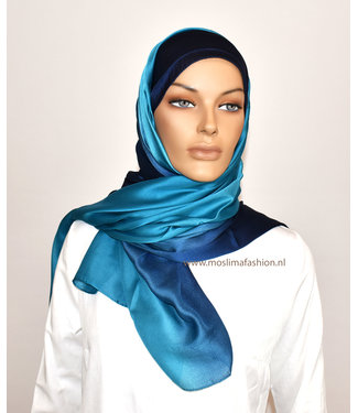 Sófani Zijde sjaal - Turkoois/Donkerblauw