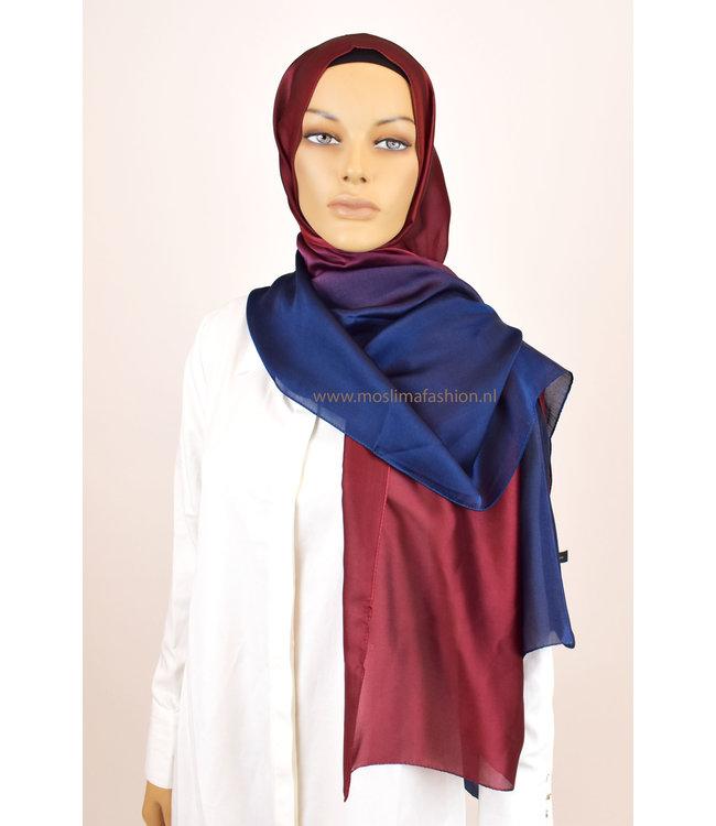 Sófani Zijde sjaal - Bordo/Donkerblauw