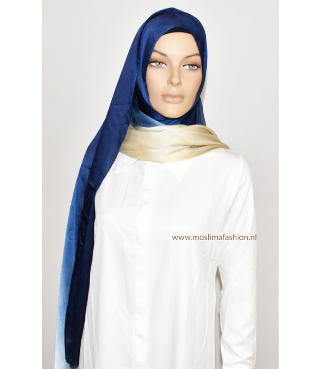 Sófani Silk scarf - Dark blue / Cream