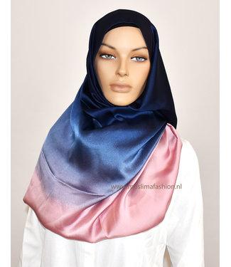 Sófani Zijde sjaal - Donkerblauw/Baby roze