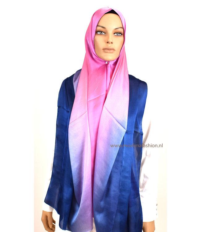 Sófani Zijde sjaal - Roze/Blauw