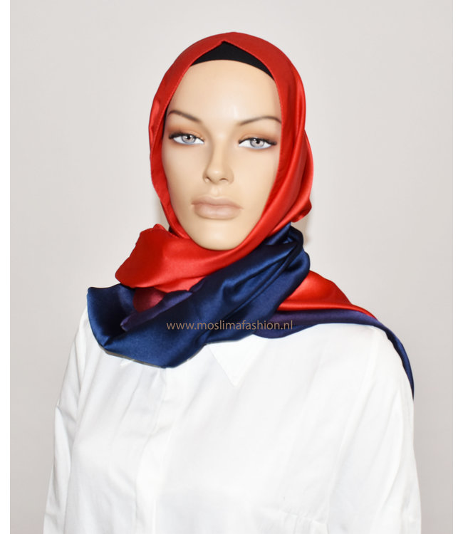 Sófani Zijde sjaal - Rood/Donkerblauw