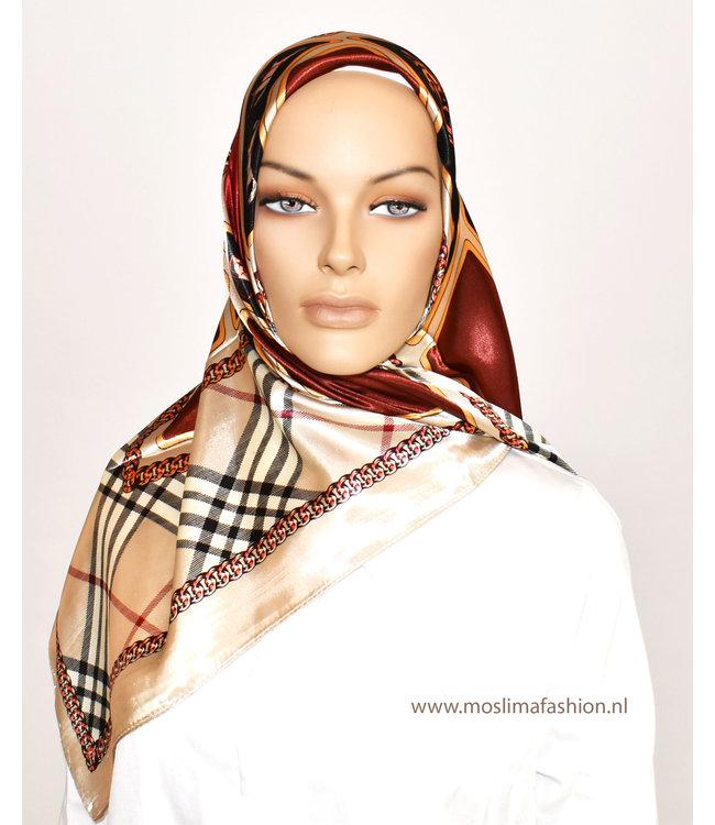Sófani Satin scarf with design - Bordo / Taupe