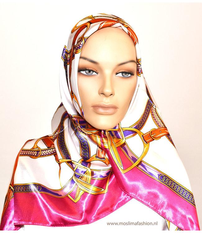 Sófani Satijnen sjaal met dessin - Roze/Wit