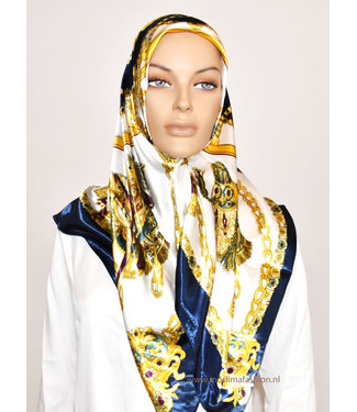 Sófani Satin scarf with design - Blue / White