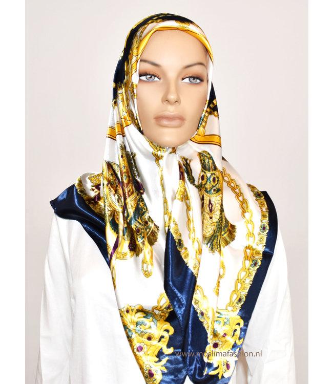 Sófani Satin scarf with design - Blue / White