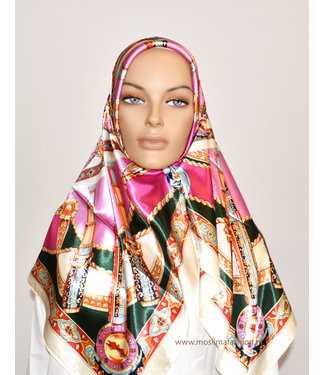 Sófani Satin scarf with pattern - Pink / Green