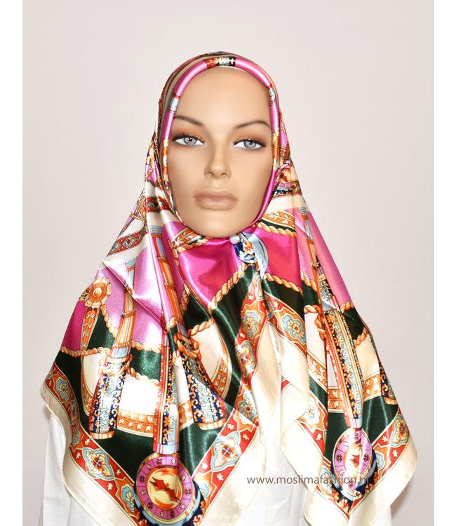 Sófani Satin scarf with pattern - Pink / Green