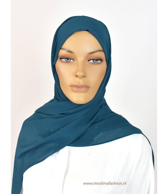 Sófani Chiffon sjaal - Blauw/Groen