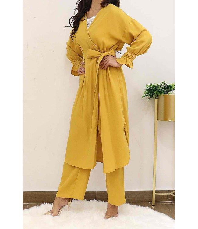Koolook Long cardigan - Mustard