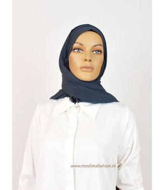 Chiffon scarf with glitter - Steel blue
