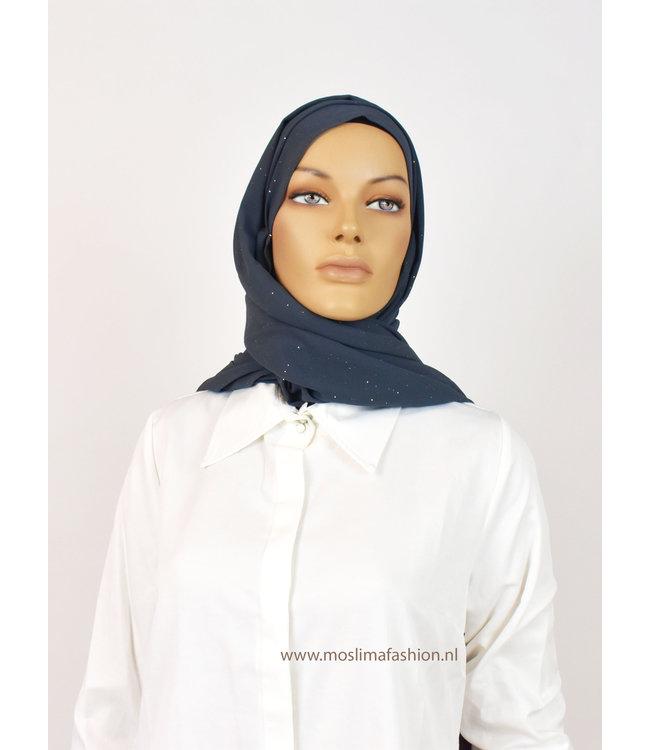Chiffon sjaal met glitters - Staalblauw