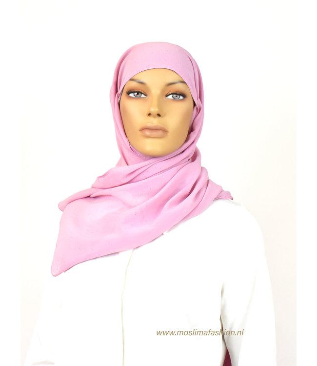 Sófani Chiffon sjaal met glitters - Lichtroze