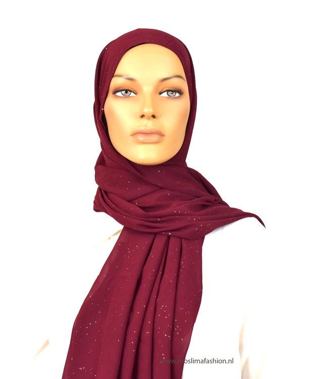 Sófani Chiffon scarf with glitter - Dark carmine