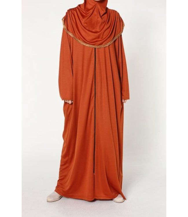 Gebedsjurk met rits - Oranjerood