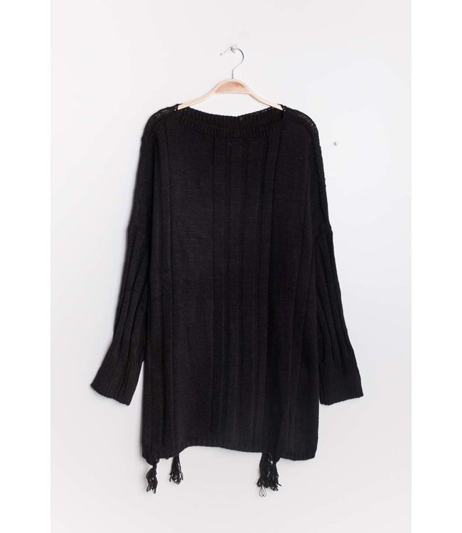 Loose sweater with tassels - Black