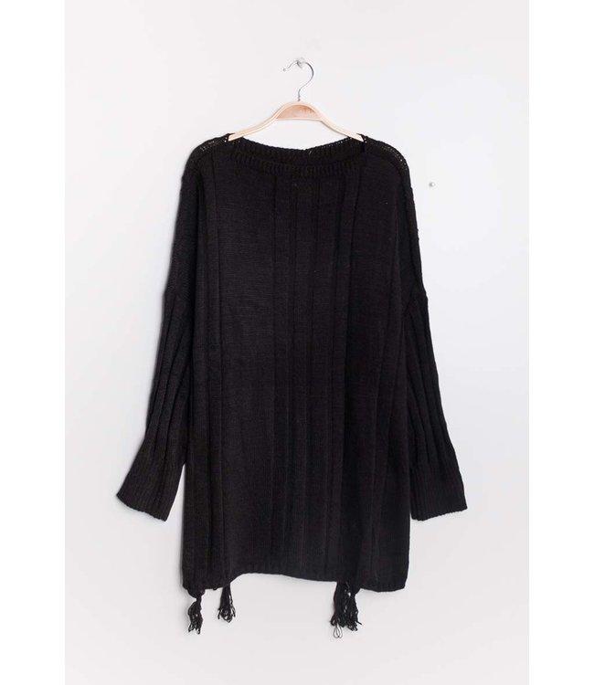 Losse trui met kwastjes- Zwart