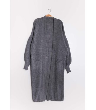 Cardigan with puffed sleeves - Dark gray