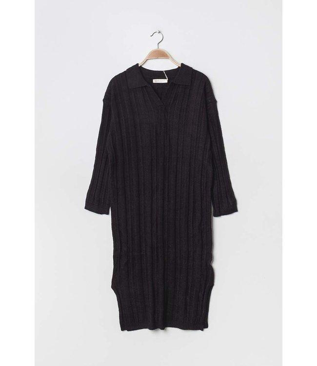 Geribde midi-jurk - Zwart
