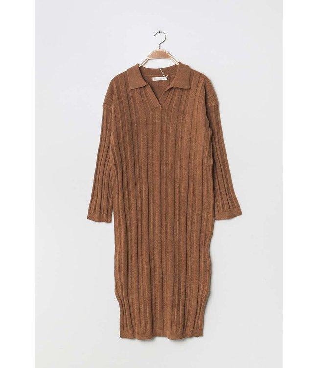 Geribde midi-jurk - Bruin