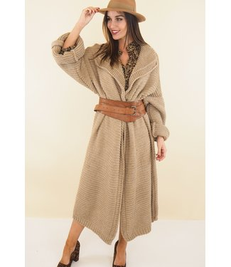 Long knitted cardigan - Beige