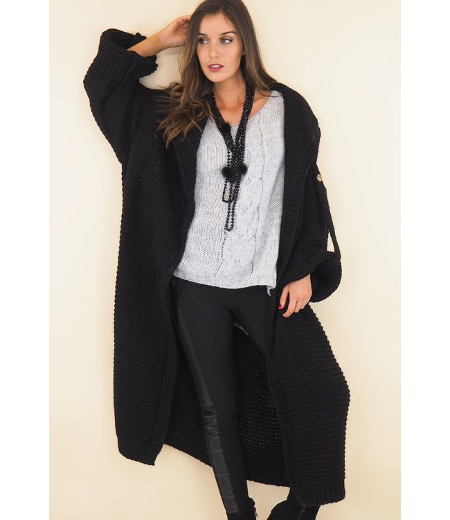 Long knitted cardigan - Black